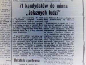 wyinek z gazety - 71 kandydatów do miana zelaznych ludzi