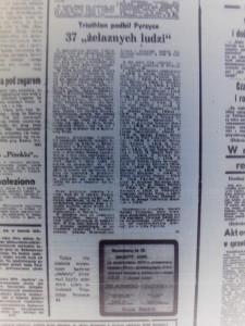 wycinek z gazety - triathlon podbił Pyrzyce