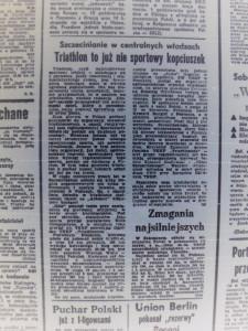 wycinek z gazety - triathlon