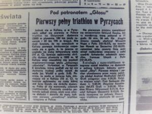 wycienek z gazety - pierwszy pełny triathlon w pyrzycach